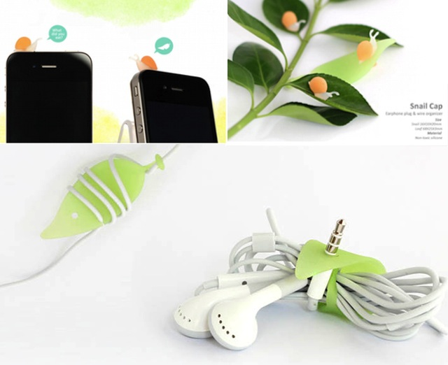 Snail Cap Earphone Plug and Wire Organizer