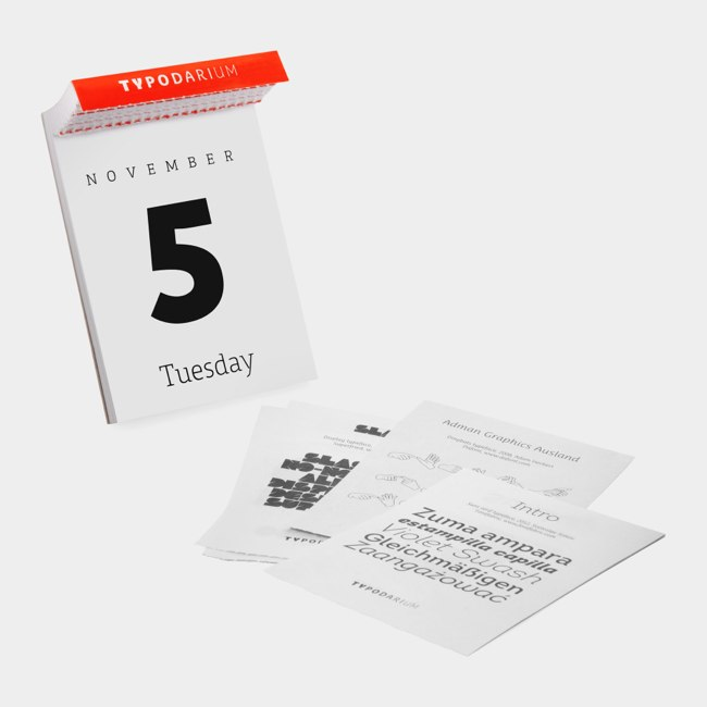 Calendar Typography : Fonts page a day calendar holycool