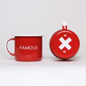 Famous Red Enamel Steel Cups (Set of Two)