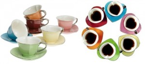 Inside Out Heart Cups & Saucers