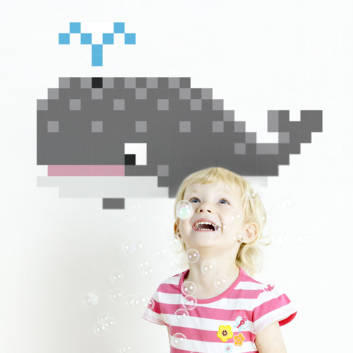 Whale Pixel Wall Decal