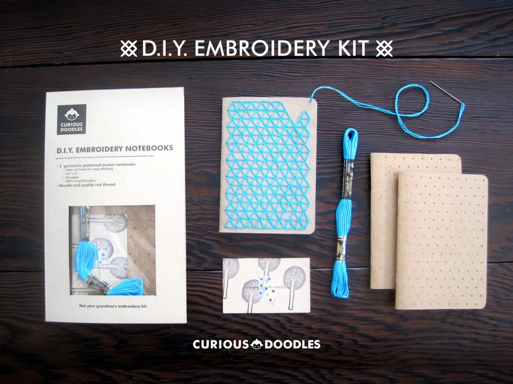 DIY Teal Embroidery Pocket Notebooks_Kit