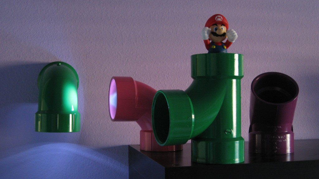 Mario bros warp pipe lamp with touch led lamps and a mount plate that