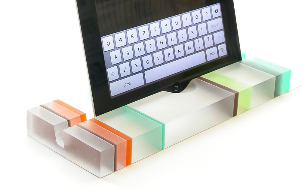 Striped Groove Resin iPad Stand