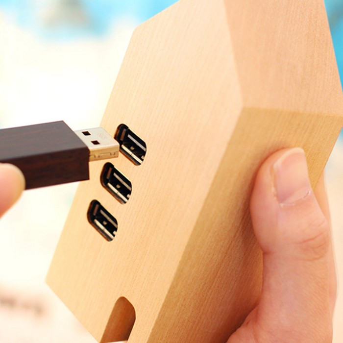 Hacoa Wooden USB Hub House1