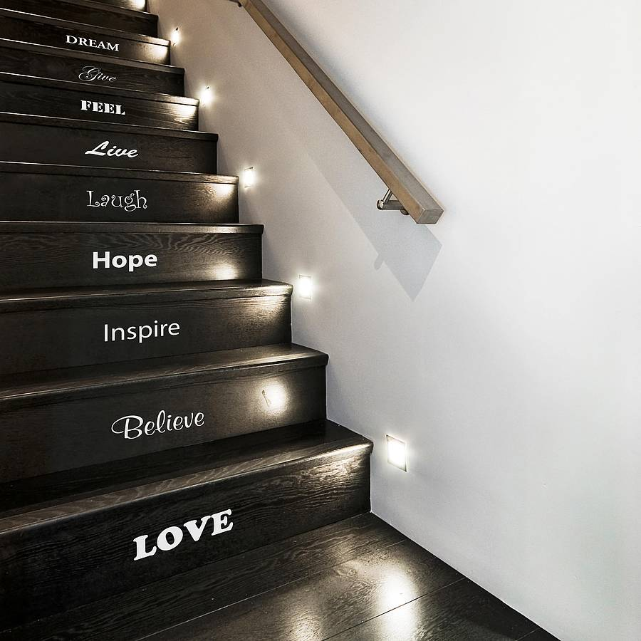 inspirational staircase vinyl sticker set. Black Bedroom Furniture Sets. Home Design Ideas