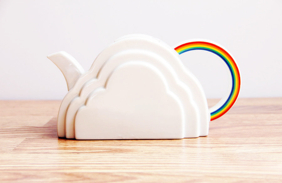 Vintage 1970s Vandor Cloud and Rainbow Teapot