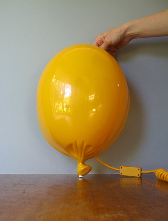 80's Pop Art Yellow Plastic Balloon Lamp