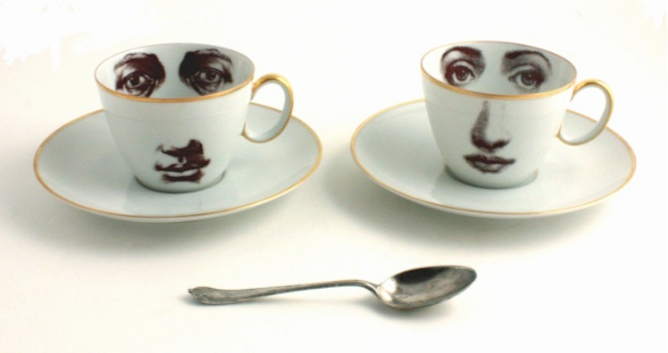 His And Hers Vintage Porcelain Coffee Cup Set