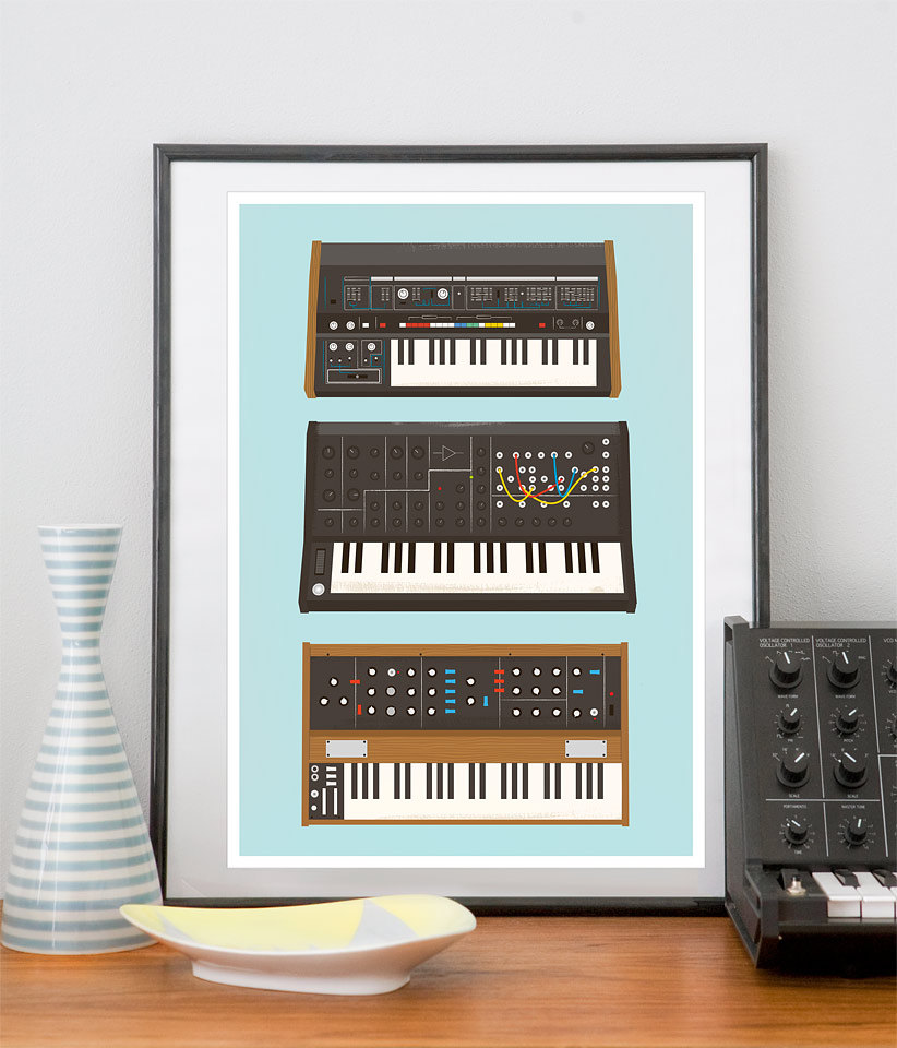 Analog Synthesizer Retro Print