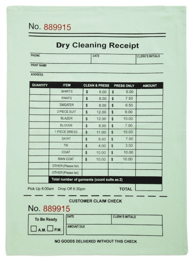 Dry Cleaning Slip Towel