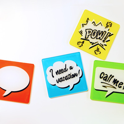 Bubble Text Coaster Pads