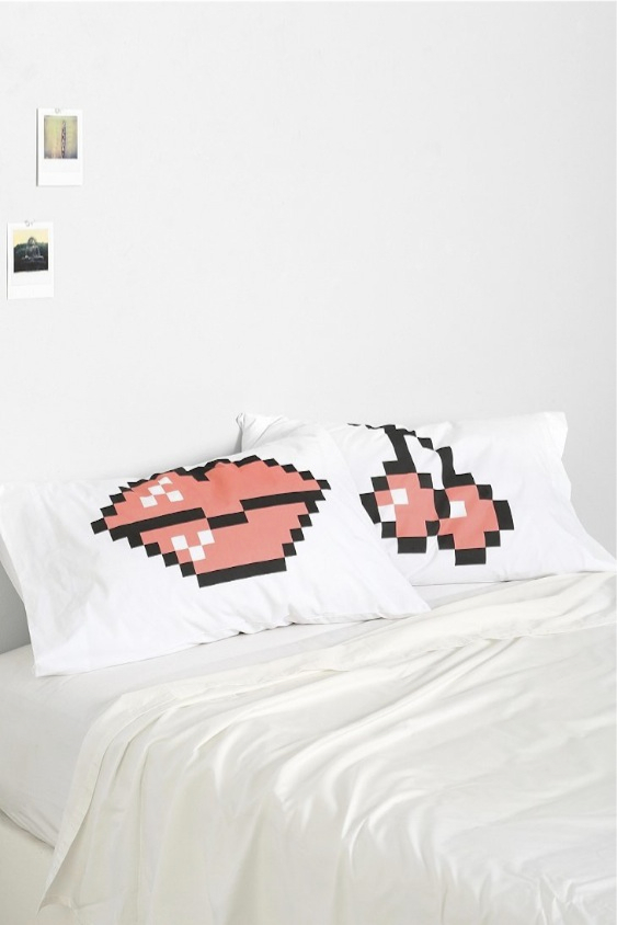 Cherry Kiss 8 Bit Pillowcase