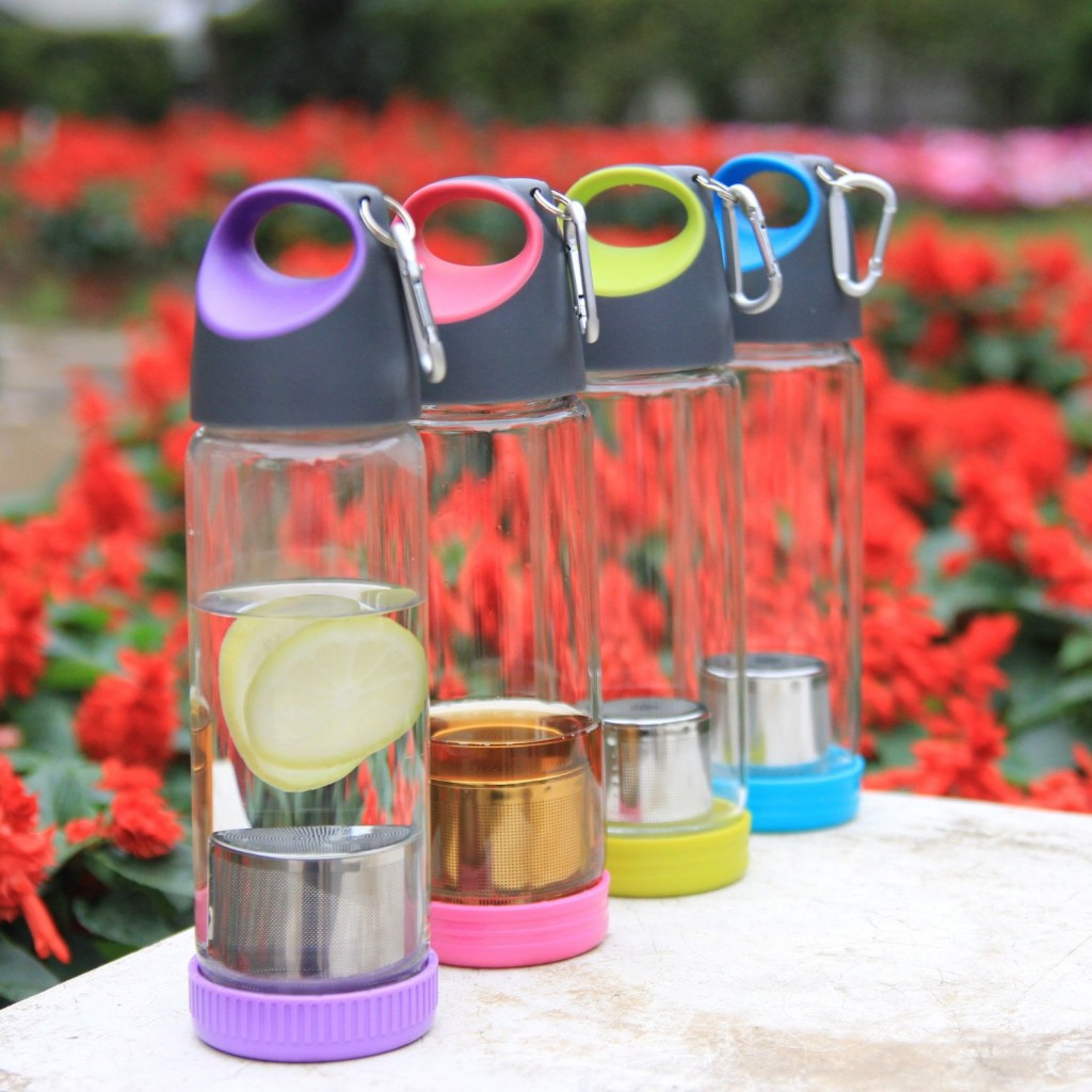 Just Life Portable Glass BPA Free Water Bottle with Sleeve Tea Fruit Infuser