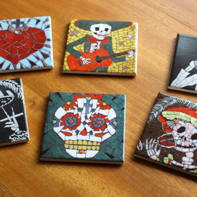 Day of the Dead Mosaic Coasters