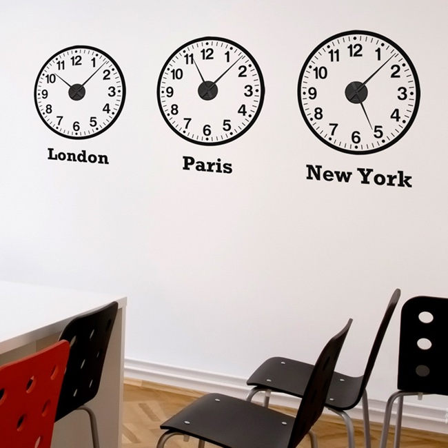 Time Zone Clocks Wall Stickers