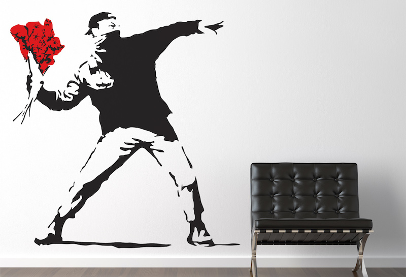Banksy-Throwing-Flowers-Wall-Sticker