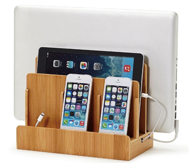 Bamboo Multi Device Charging Station and Cord Organizer for Smartphones, Tablets and Laptops