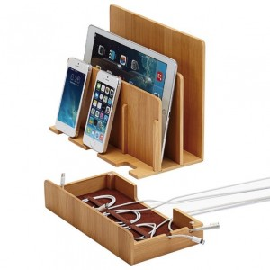 Bamboo Multi Device Charging Station and Cord Organizer for Smartphones, Tablets and Laptops_