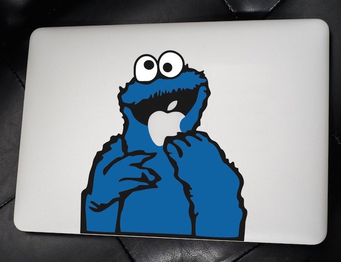 Cookie monster macbook decal 01