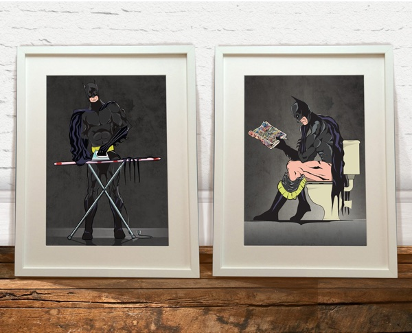 Batman Toilet and Ironing Art Prints