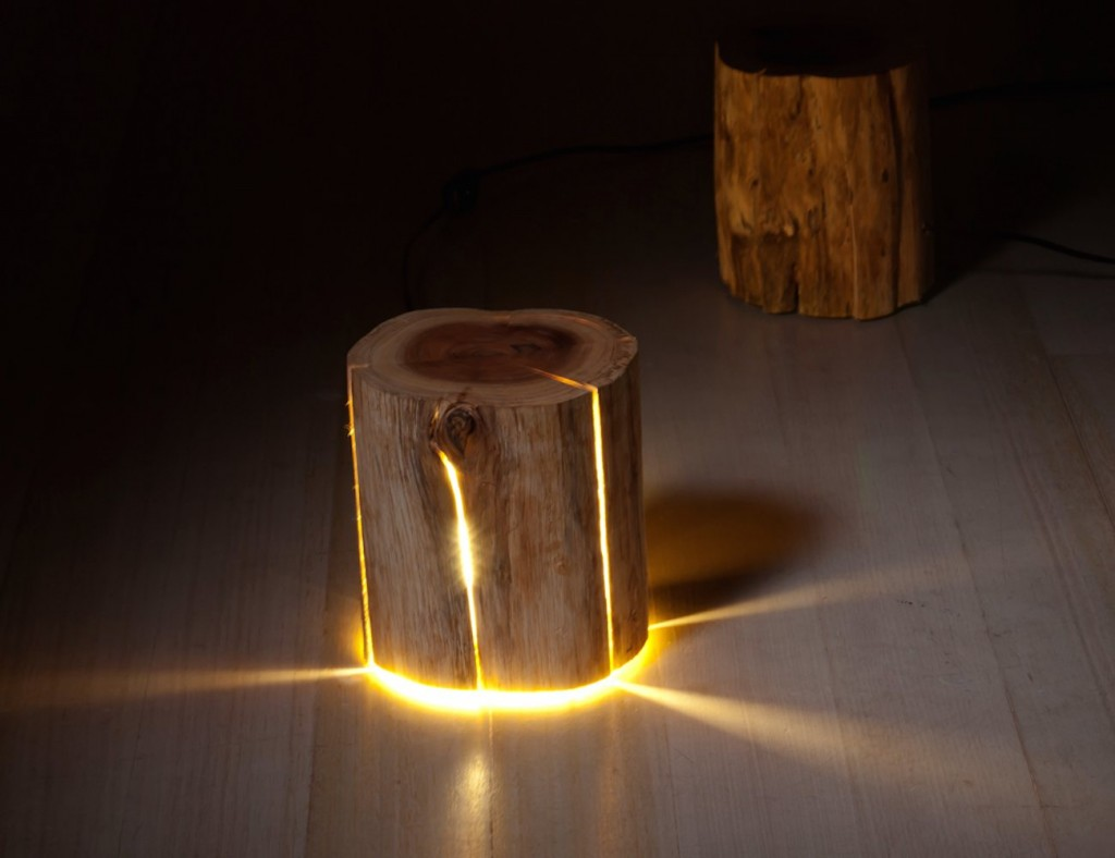 Cracked Log Lamp Made From Salvaged Logs