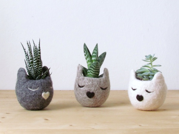 Felt succulent planter _ Kitty cat vase