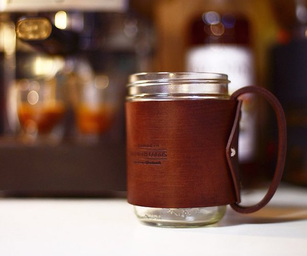 The Traveler Mug Mason Jar Hugged in Vegetable Tanned Leather