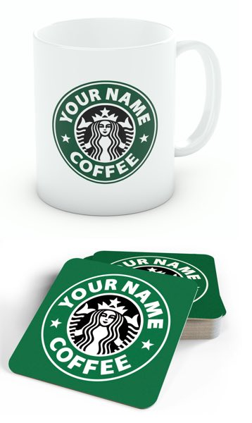 Personalised Starbucks Mug And Coaster