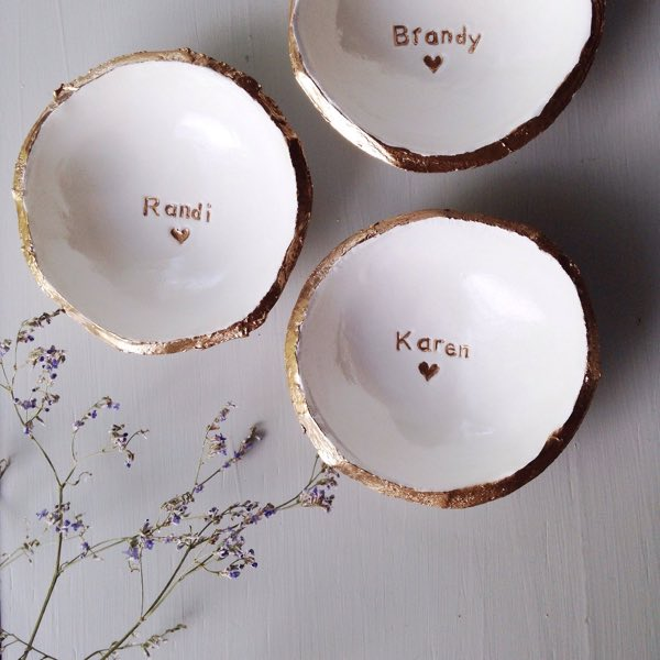 Personalized White and Gold Jewelry Dish