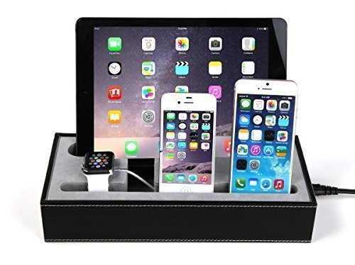 Konsait Black Leatherette Apple Watch Charging Stand Cradle Holder