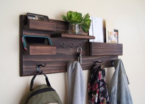 Coat and Key Hooks Entryway Organizer