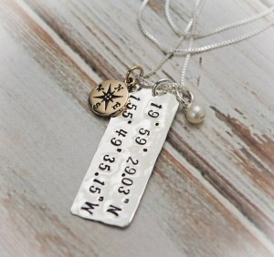Latitude and Longitude Personalized in Sterling Silver Coordinates Necklace