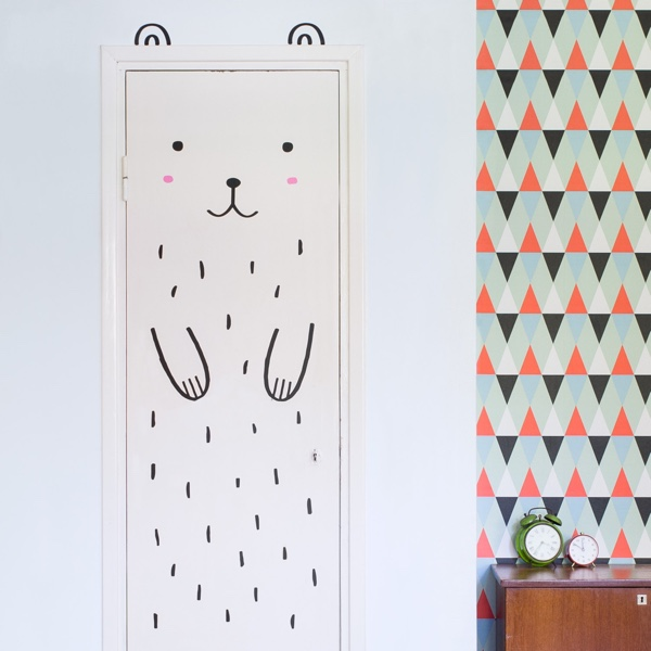 Haru the Happy Bear Door Decal