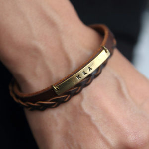 Personalized Brown Leather Bracelet