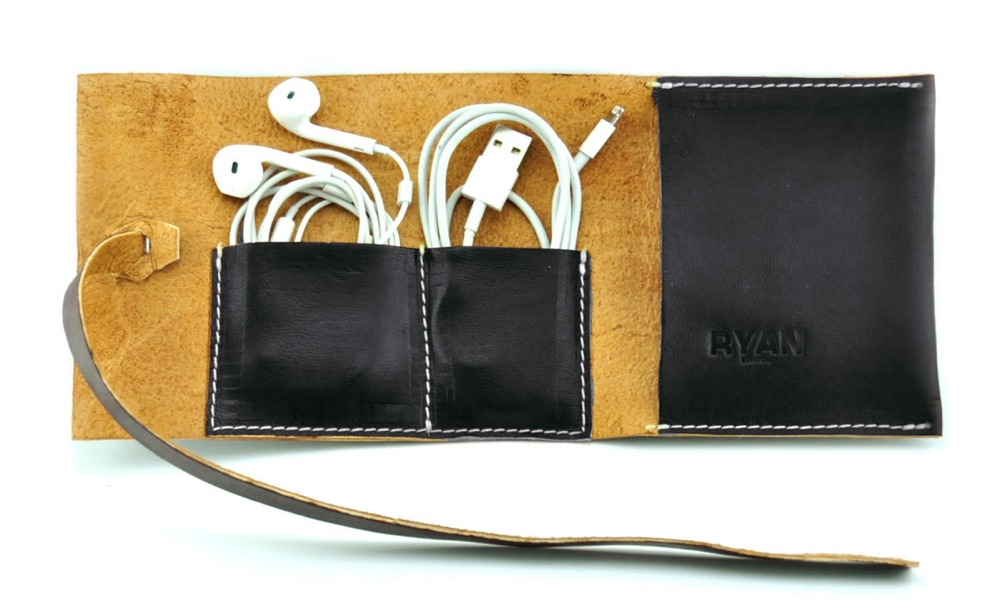 Leather Cable Holder, iPhone Charger Roll