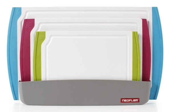 Neoflam 4-Piece Coded Cutting Board Set with Microban Antimicrobial Protection