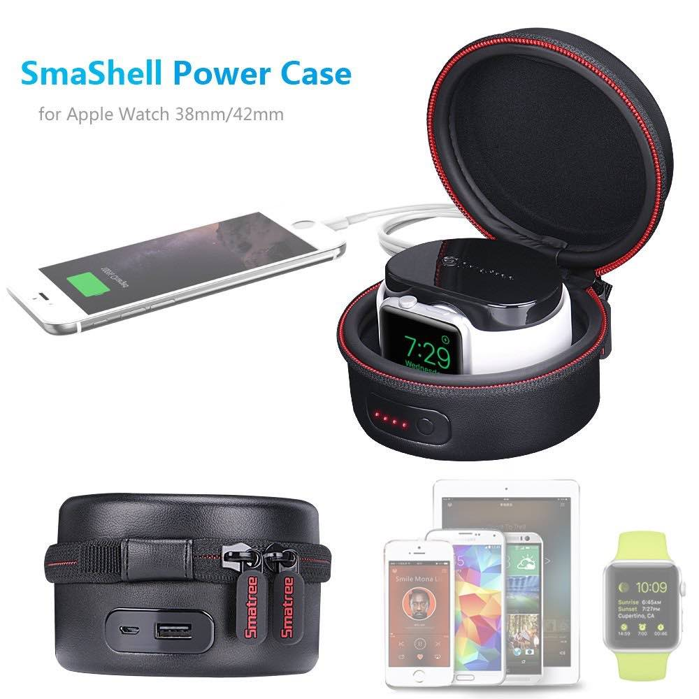 Smatree SmaShell A100 Power-Case PU Leather Multi-function Compact Case with Built-in 3000mAH Power Bank for Apple Watch
