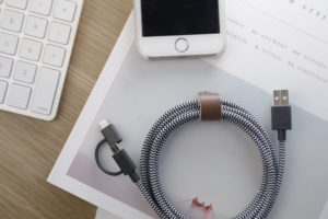 Native Union BELT Twin Head - 6.5ft Charging Cable with Integrated 2-In-1 Adaptor for Apple Lightning and Micro-USB Devices