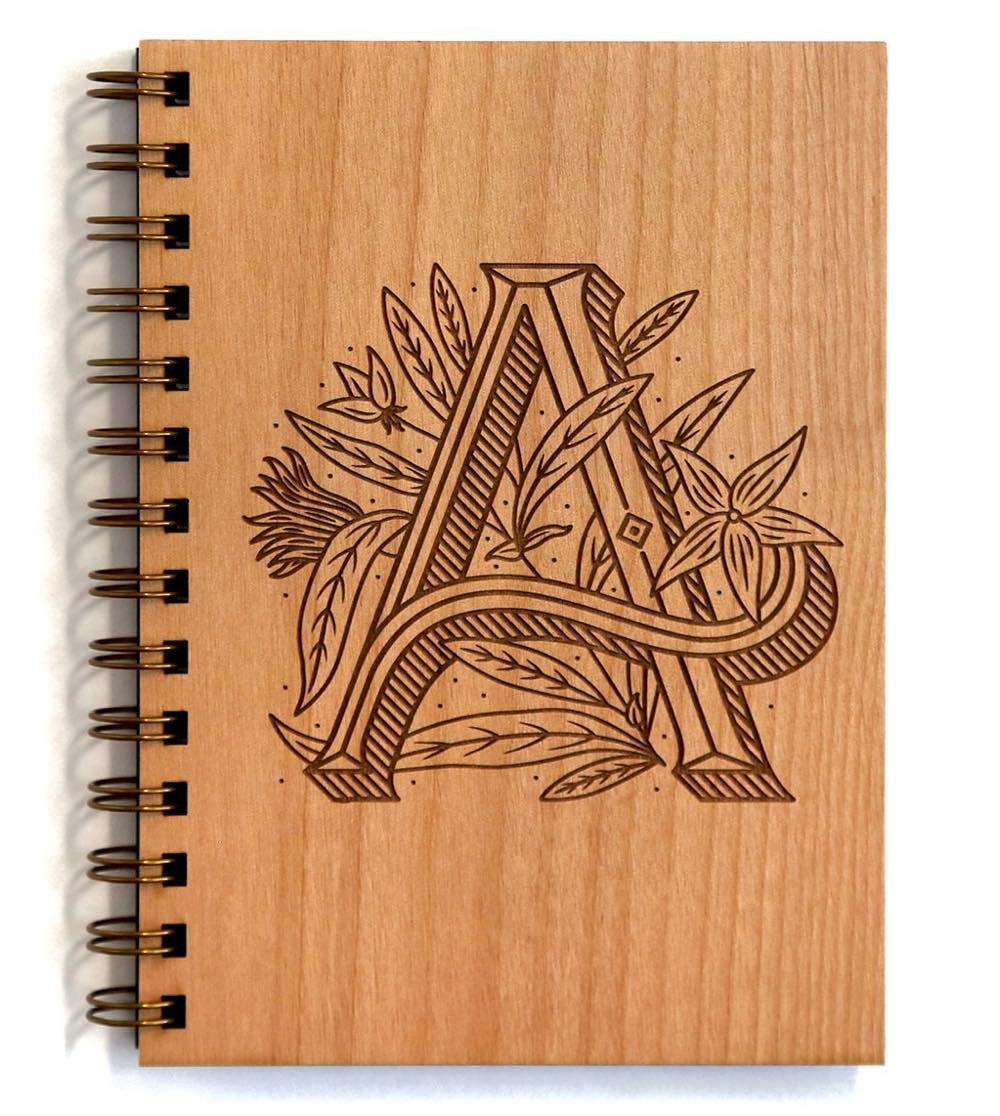 floral-monogram-wood-journal