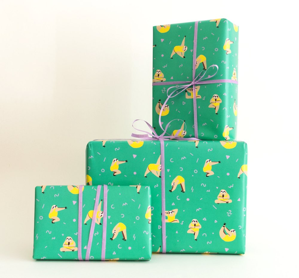 yoga-sloths-wrapping-paper