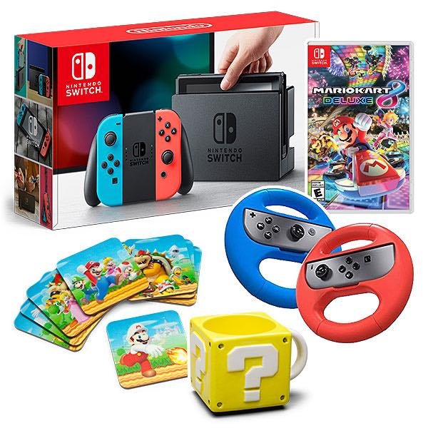 nintendo switch neon w mario kart 8 wheel coasters mug. Black Bedroom Furniture Sets. Home Design Ideas