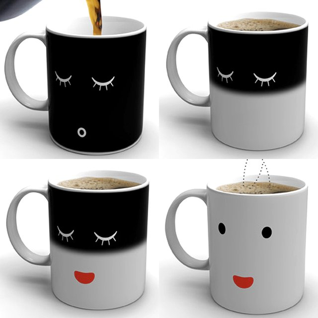 The Mug That Gradually Wakes Up As You Pour In Hot Liquid Into It. Pretty  Much Just Like You.
