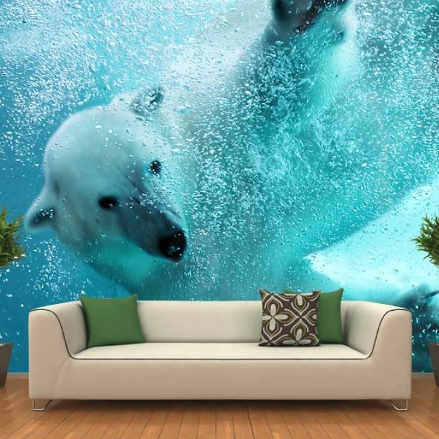 Polar Bear Underwater Attack Wall Mural