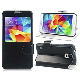Window Displays The Incoming Call with Stand PU Leather Case for Samsung Galaxy S5 i9600