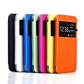 PU Leather Case Hard Back Case with View  Window for Samsung Galaxy S5 I9600(Assorted Colors)